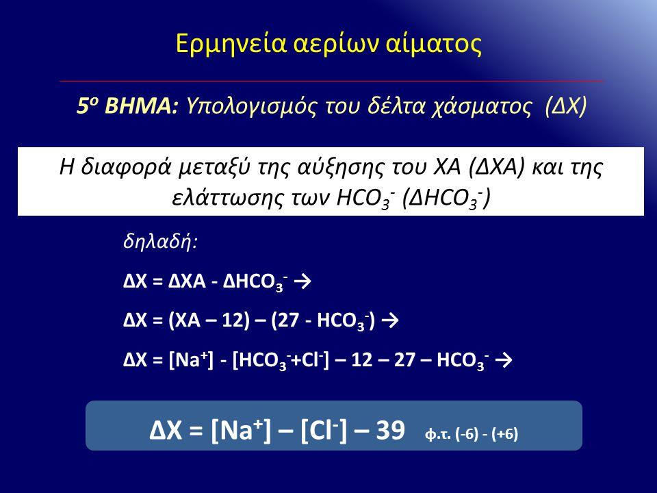 ΔΧ = [Na+] – [Cl-] – 39 φ.τ. (-6) - (+6)